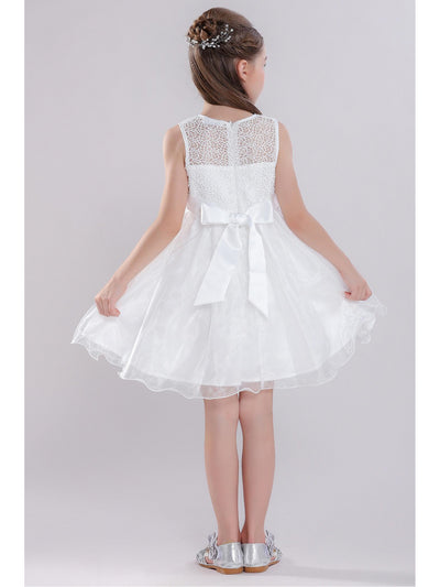 Girls Big Bow Dress  white alt3
