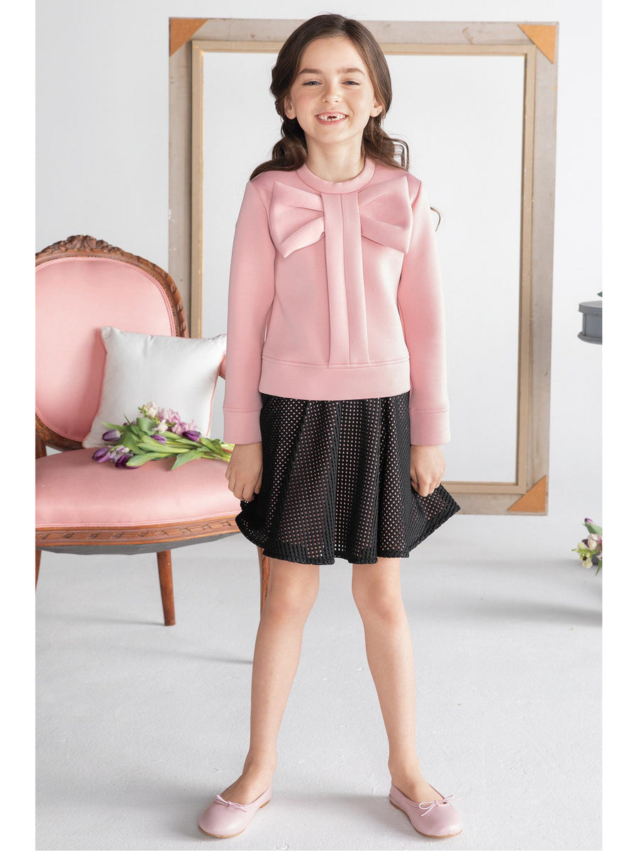 Girls Big Bow Top & Skirt Set