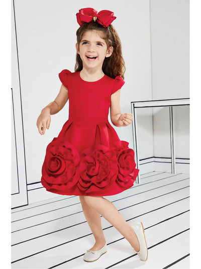 Girls Big Red Roses Dress