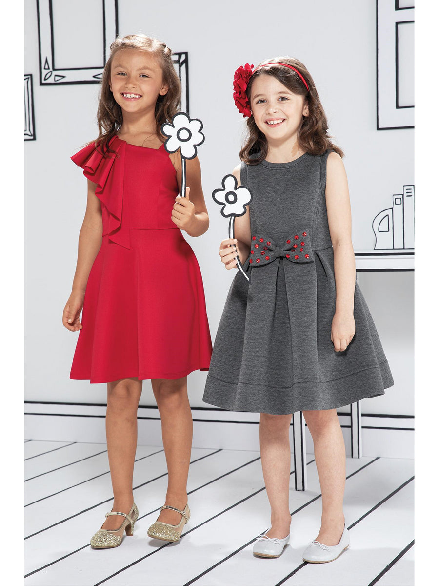 Girls Big Ruffle Asymmetrical Dress