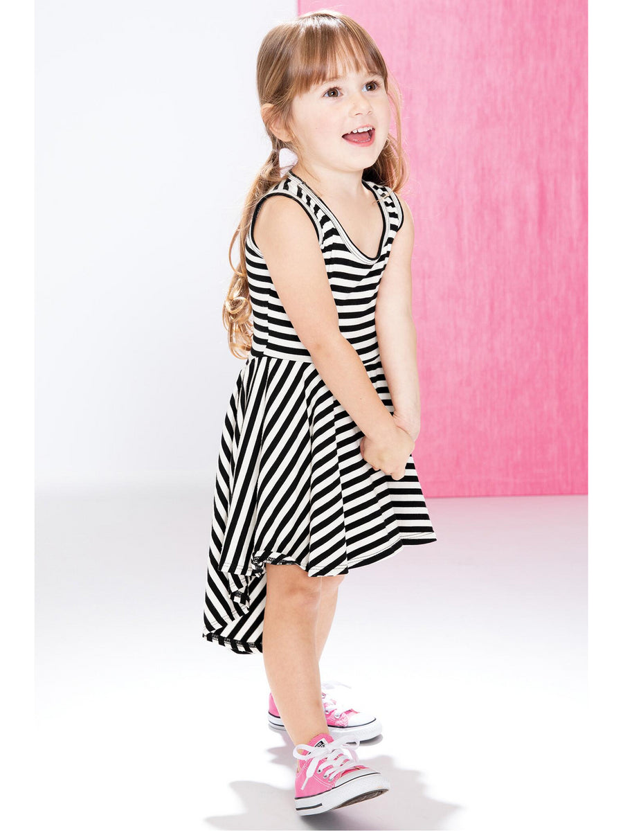 Girls Black & White Stripe High/Low Tank Dress
