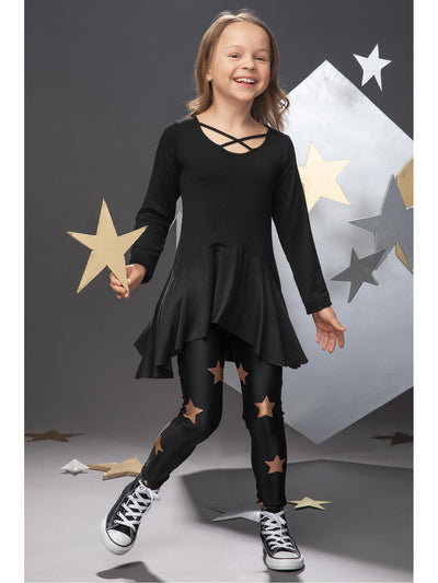 Girls Black Criss-Cross High-Low Tunic