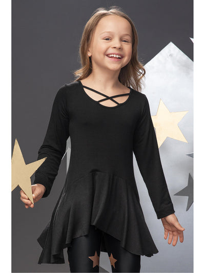 Girls Black Criss-Cross High-Low Tunic  blk alt1