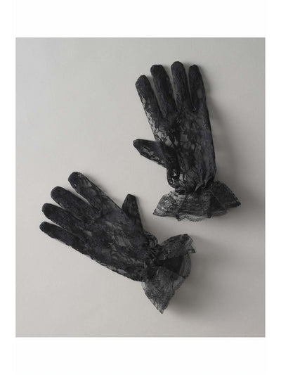 Girls Black Lace Gloves
