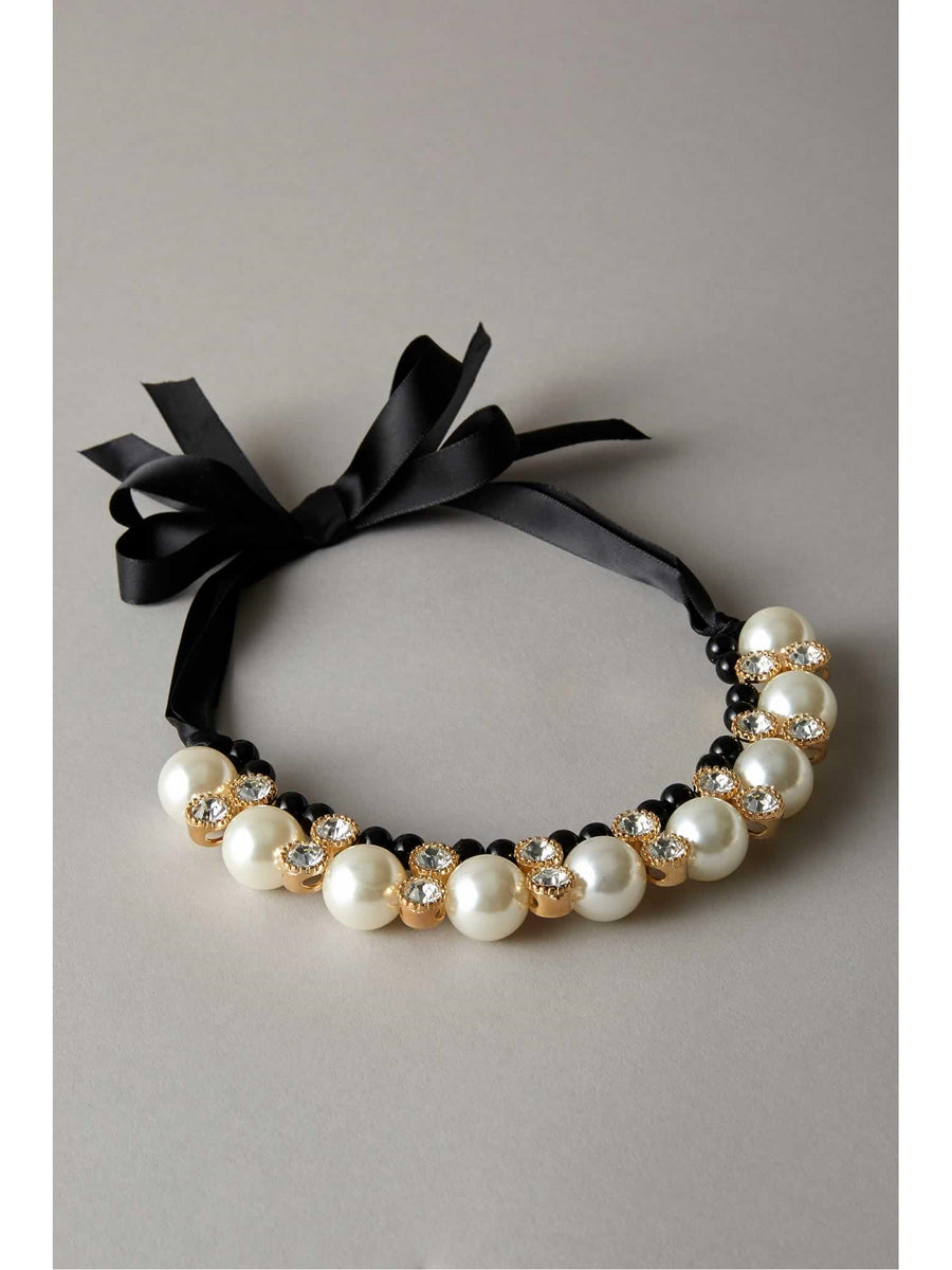 Girls Black Pearl & Rhinestone Collar
