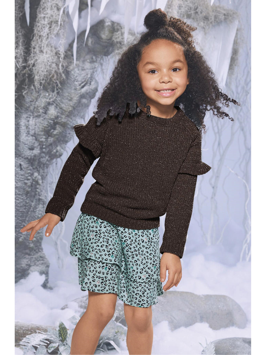 Girls Black Ruffle Sweater
