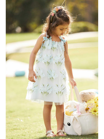 Girls Blue Blossom Dress  lbl alt1