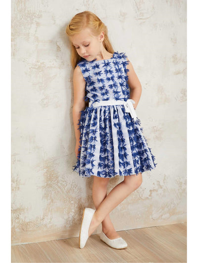 Girls Blue Bows Dress  blu alt1