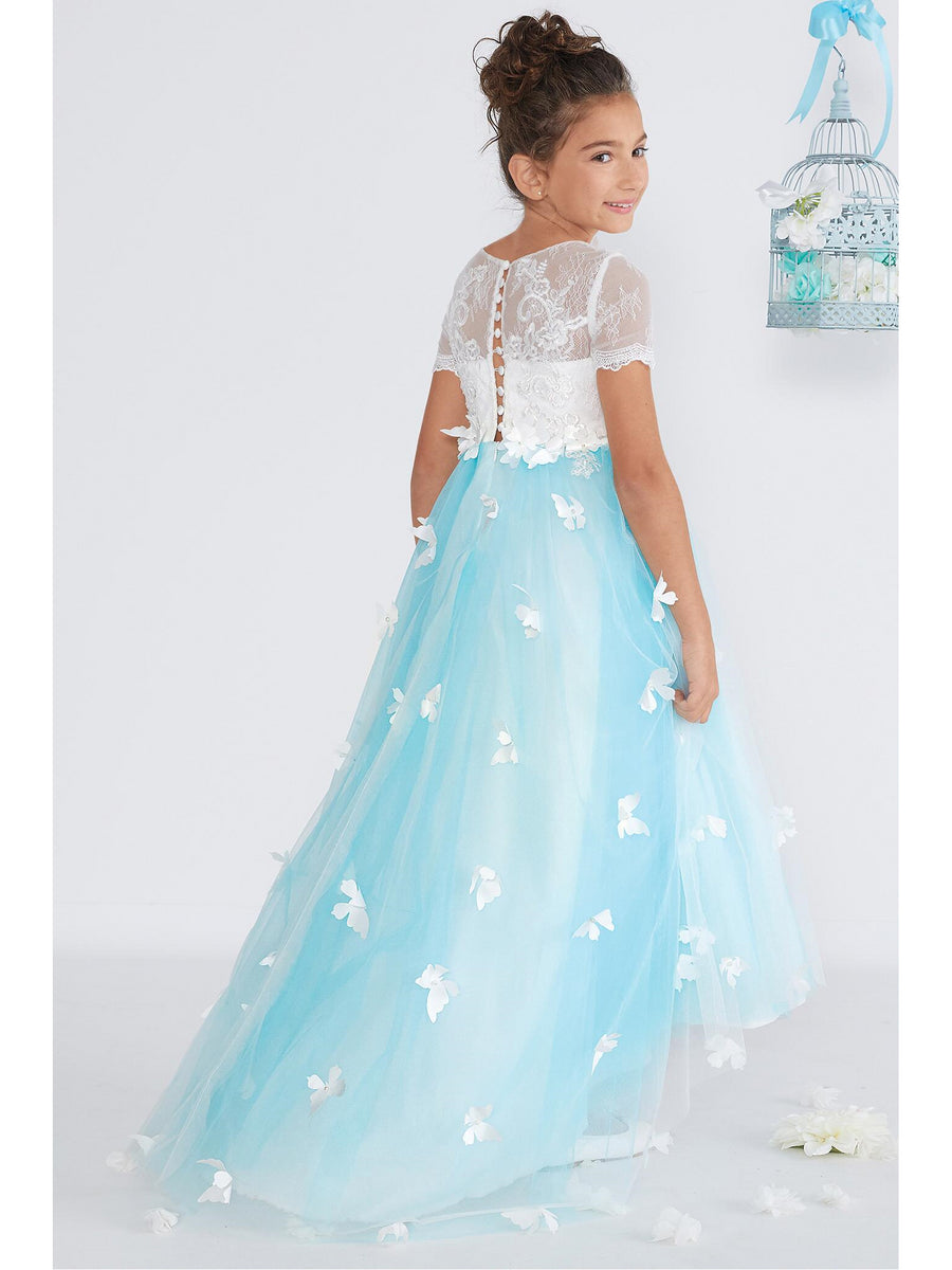 Girls Blue Sky Butterfly Dress