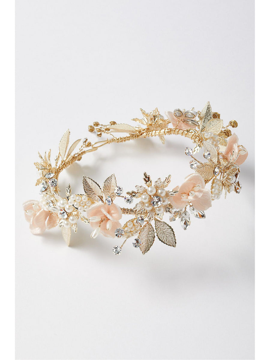Girls Blush Blossoms & Pearls Tiara