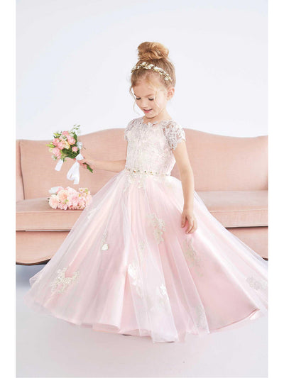 Girls Blush Lace Appliqué Dress