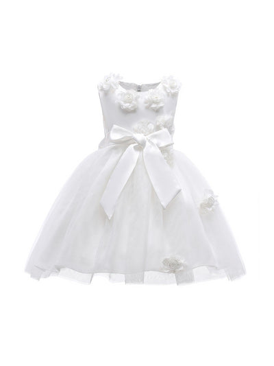 Girls Bow & Flowers Dress  white alt1