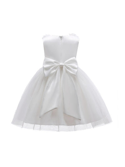 Girls Bow & Flowers Dress  white alt2