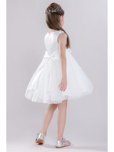 Girls Bow & Flowers Dress  white alt3