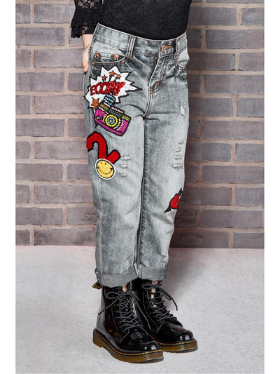 Girls Boyfriend Jeans with Patches