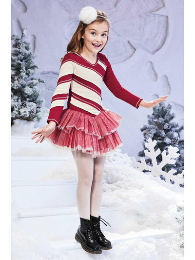 Girls Candy Cane Tutu Dress  red alt1