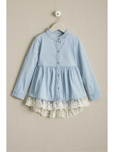 Girls Chambray Lace Shirt