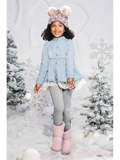Girls Chambray Lace Shirt  den alt1