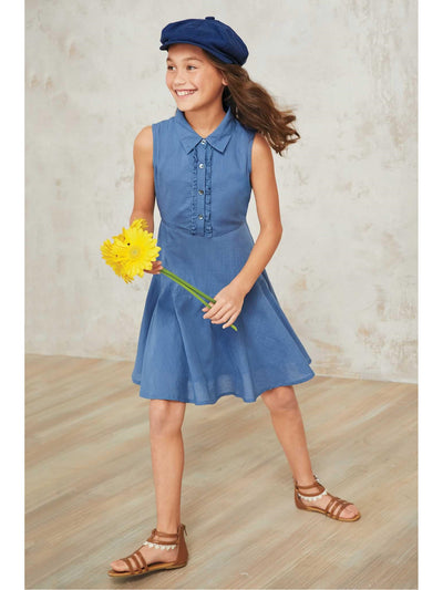 Girls Chambray Shirt Dress