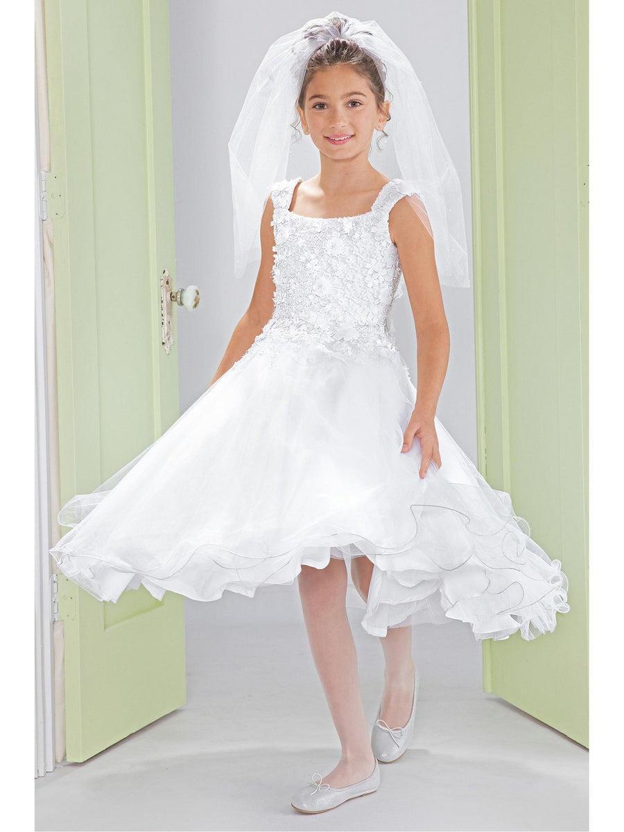 Girls Chiffon Flower Appliqués Lace Dress