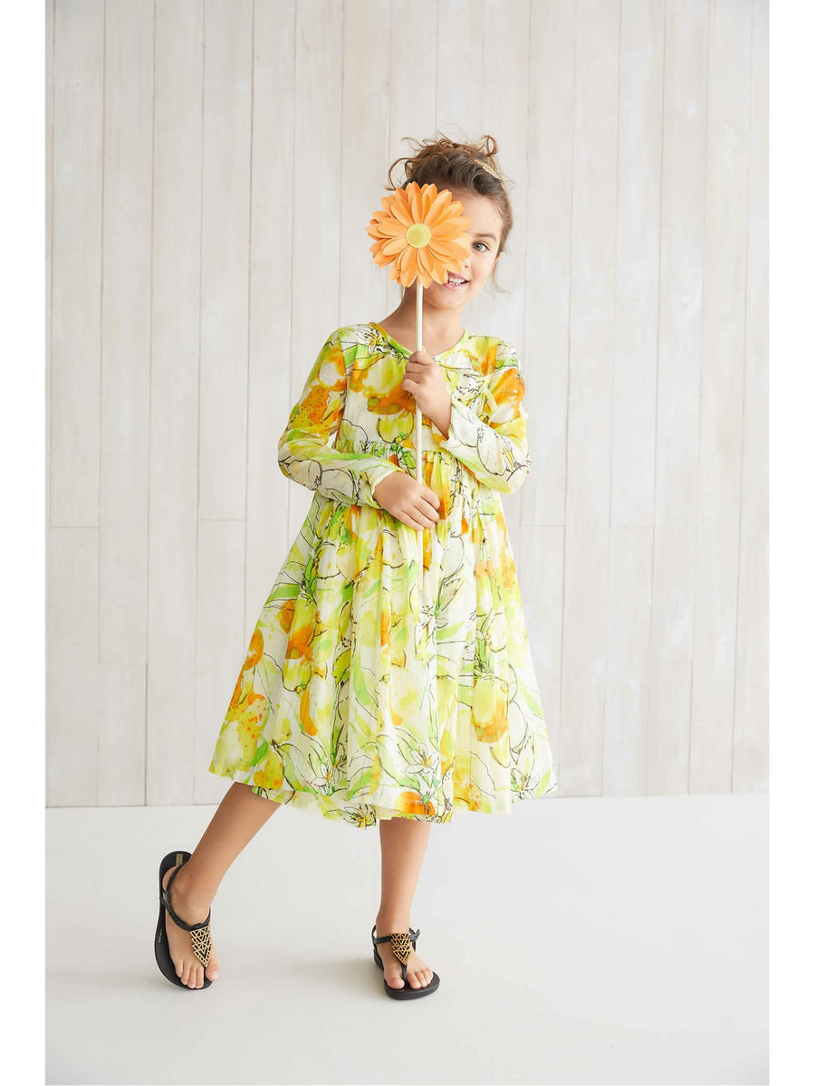 Girls Citrus Watercolor Dress