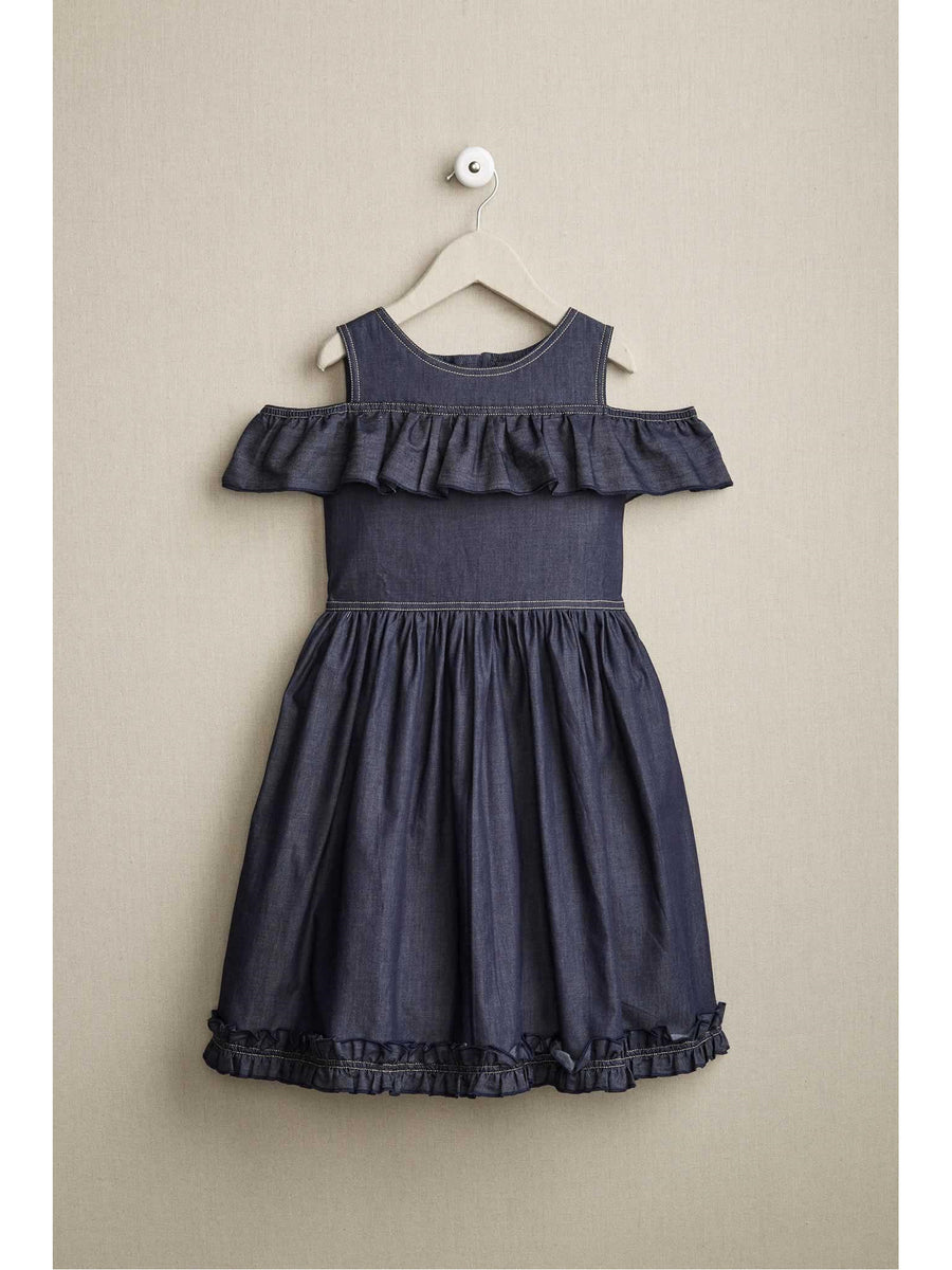Girls Cold-Shoulder Denim Dress