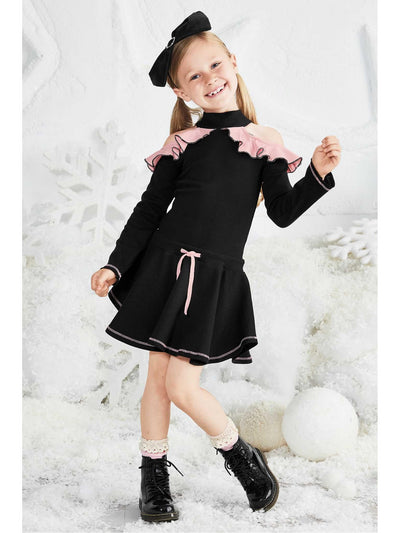 Girls Cold Shoulder Ruffle Dress  bla alt1