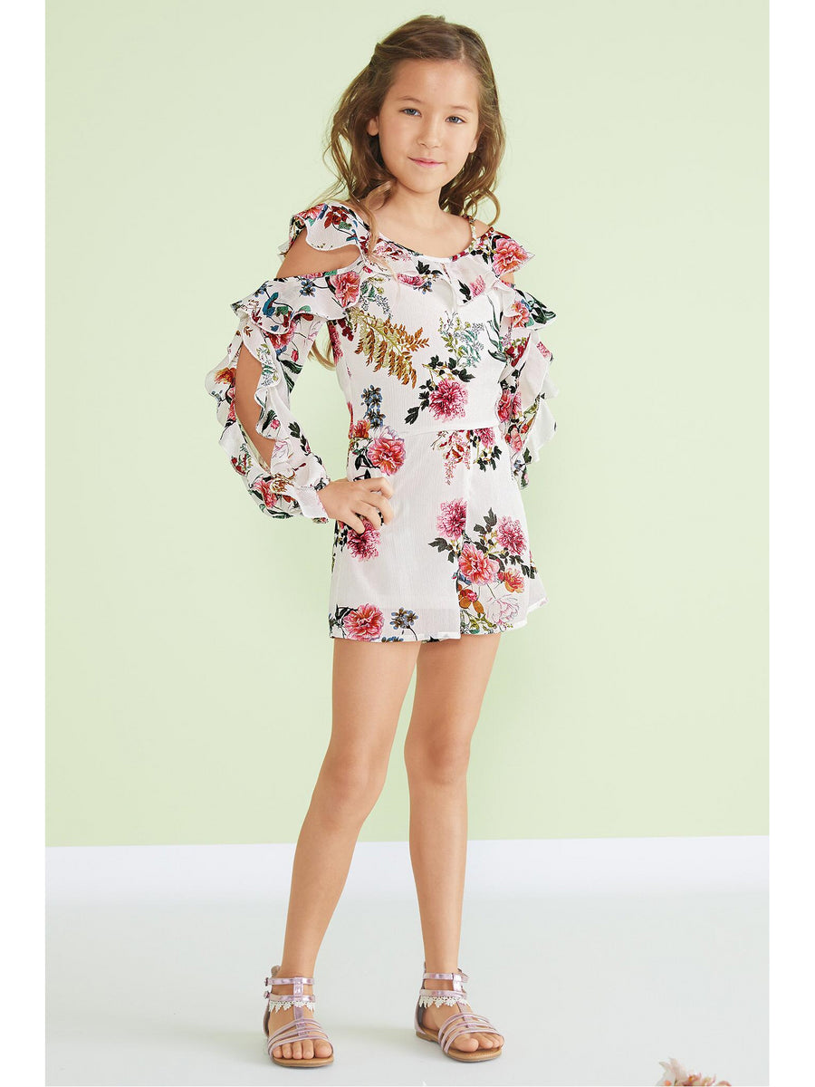 Girls Cold Shoulder Ruffle Romper