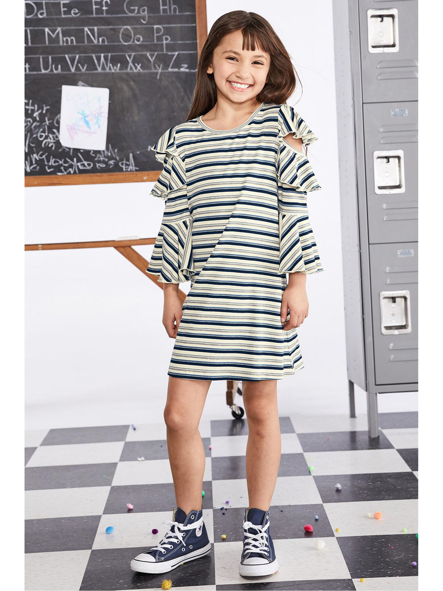 Girls Cold Shoulder Striped Ruffle Sleeve Dress