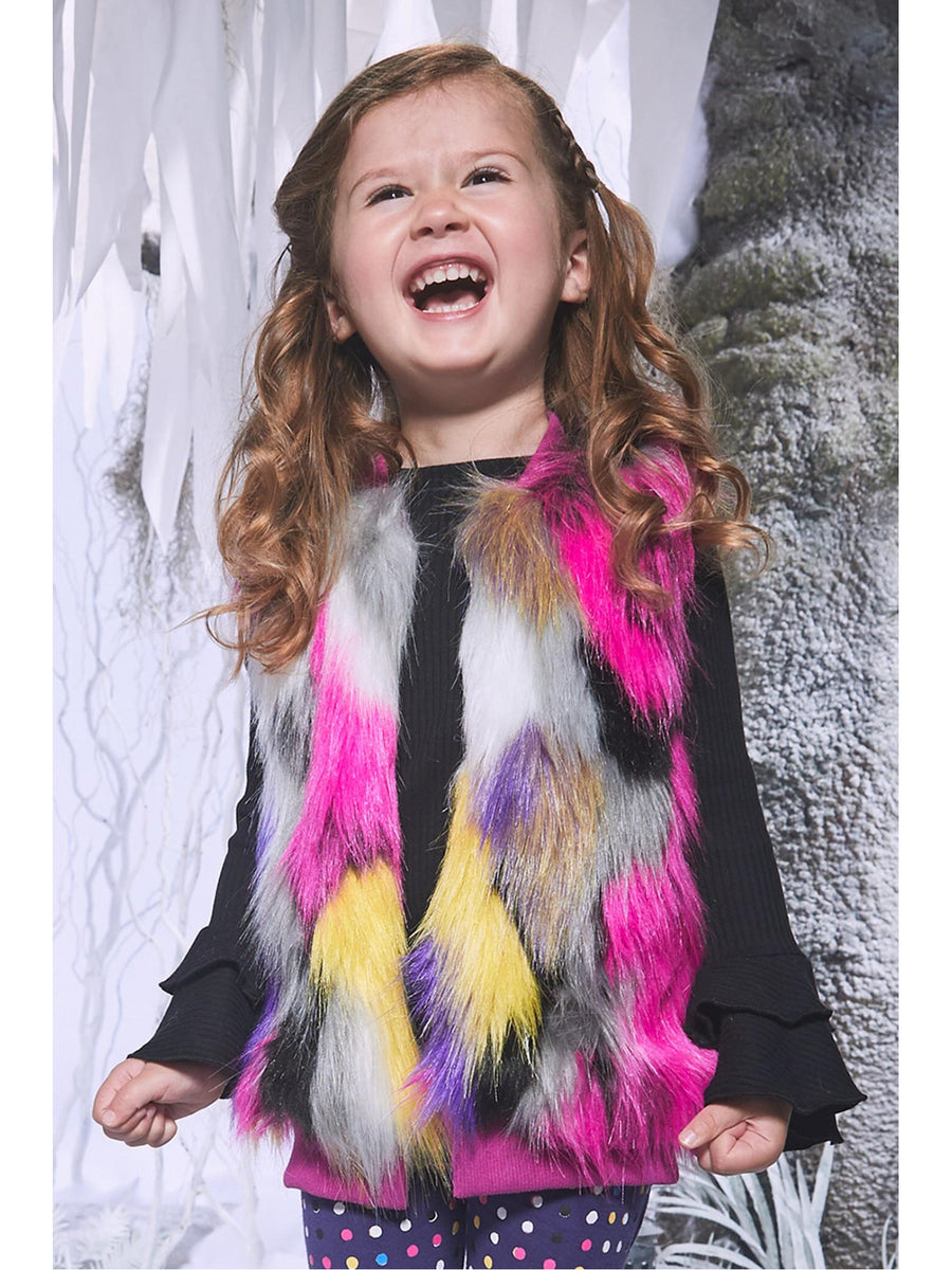 Girls Color Chaos Faux Fur Vest