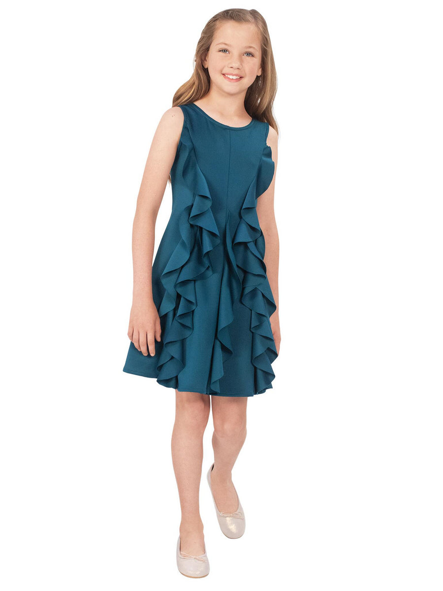 Girls Color Me Teal Ruffle Dress