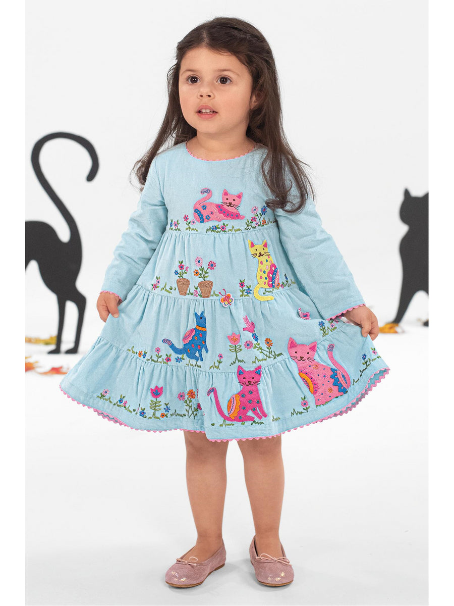 Girls Colorful Kitties Embroidered Dress