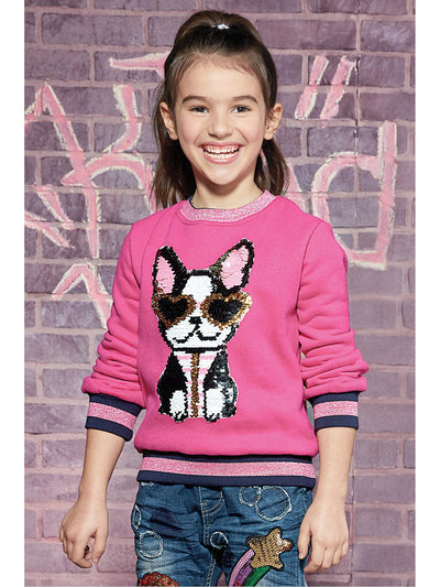Girls Cool Pup Sequin Pullover  pink alt1