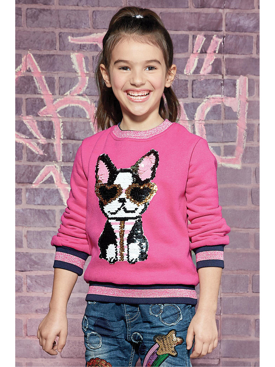 Girls Cool Pup Sequin Pullover