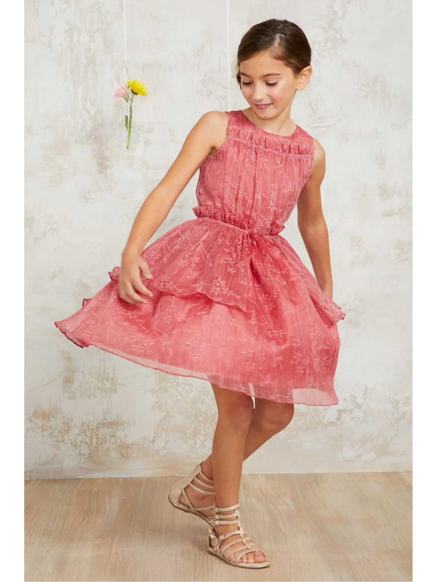 Girls Coral Crinkle Chiffon Dress