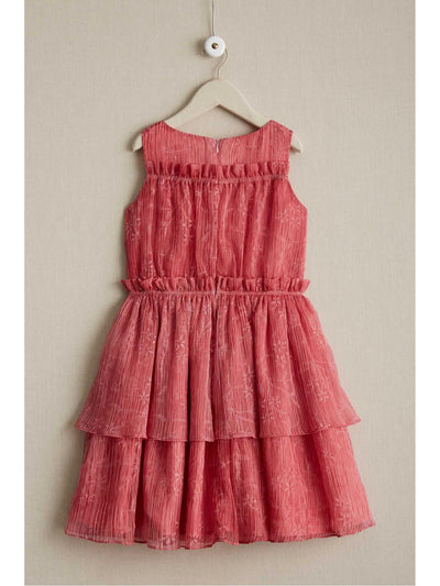 Girls Coral Crinkle Chiffon Dress  cor alt2