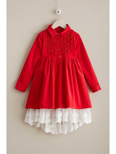 Girls Corduroy & Lace Dress  red alt1