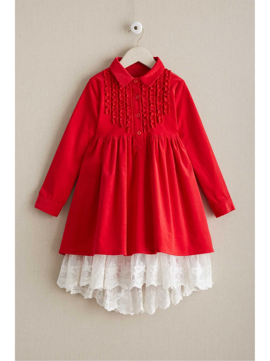 Girls Corduroy & Lace Dress