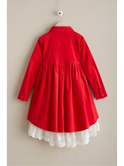 Girls Corduroy & Lace Dress  red alt2