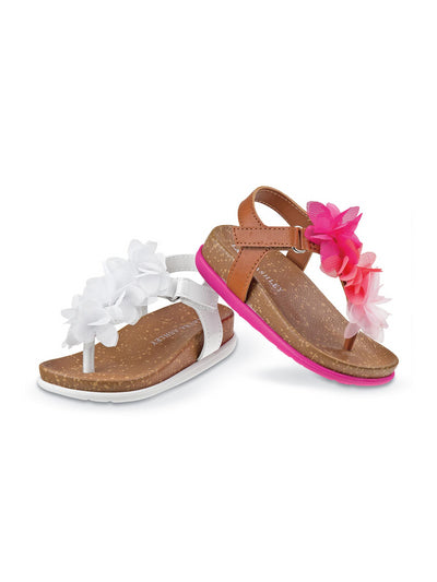 Girls Cork Sole Sandals  white 1