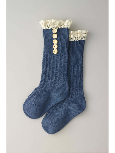 Girls Crochet Button Boot Socks