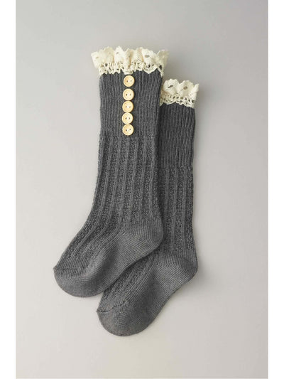 Girls Crochet Button Boot Socks  gra 1