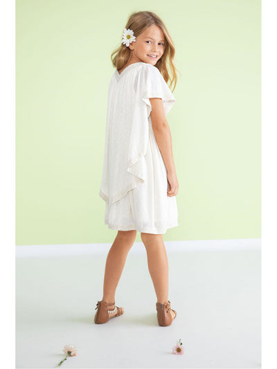 Girls Crochet Trim Capelet Dress  whi alt1