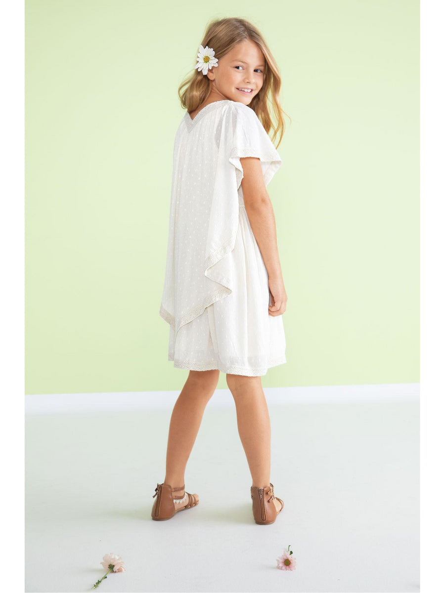 Girls Crochet Trim Capelet Dress