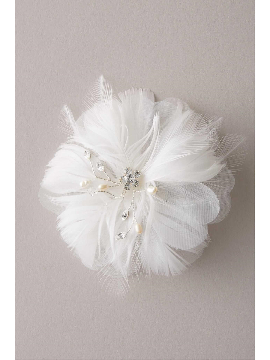 Girls Crystal & Pearl Feather Flower Hairclip