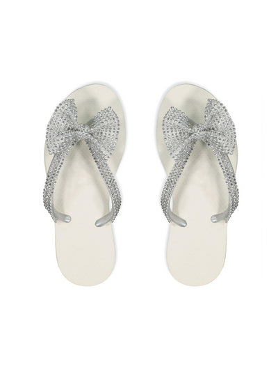 Girls Crystal Bow Flip-Flops  white 1