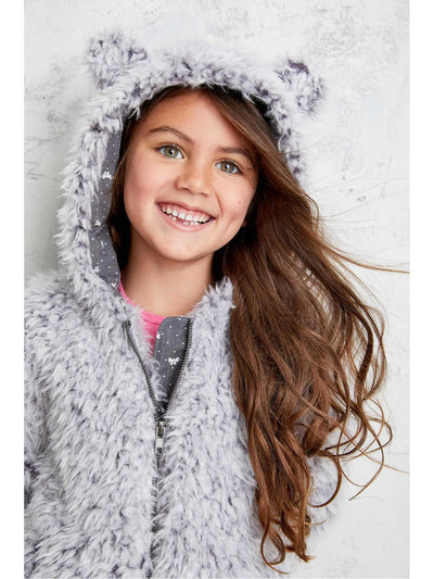 Girls Cuddly Bear Coat  gra alt1