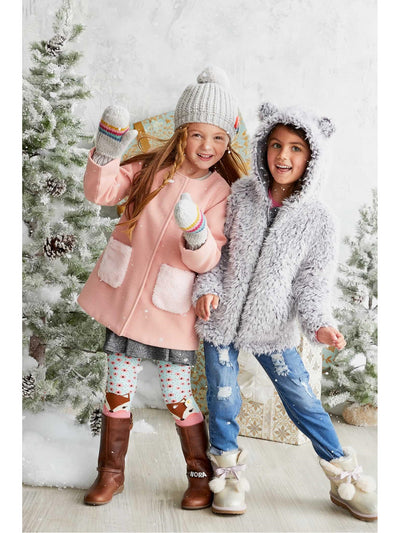 Girls Cuddly Bear Coat  gra alt2