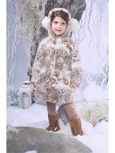 Girls Cuddly Hooded Pom Pom Coat