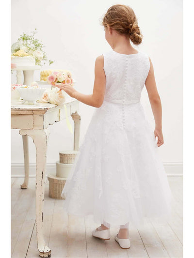 Girls Cutwork Floral Lace Dress  whi alt1